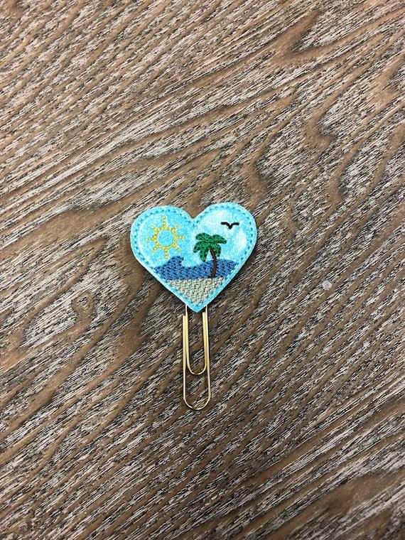 Glitter Beach Heart Planner Clip. Beach Planer Clip. Ocean Planner Clip. Travel Planner Clip. Summer Planner Clip
