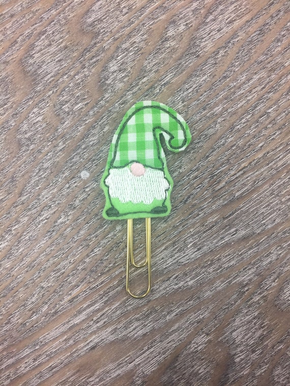 St Patrick's Day Gingham Gnome planner Clip/Planner Clip/Bookmark. St Patricks Day Planner Clip. Gnome Planner Clip. Clover Planner Clip