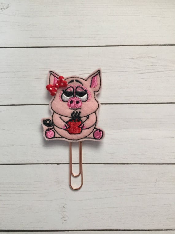 Tired Pig With Coffee Clip/Planner Clip/Bookmark. Pig Planner Clip. Coffee Planner Clip