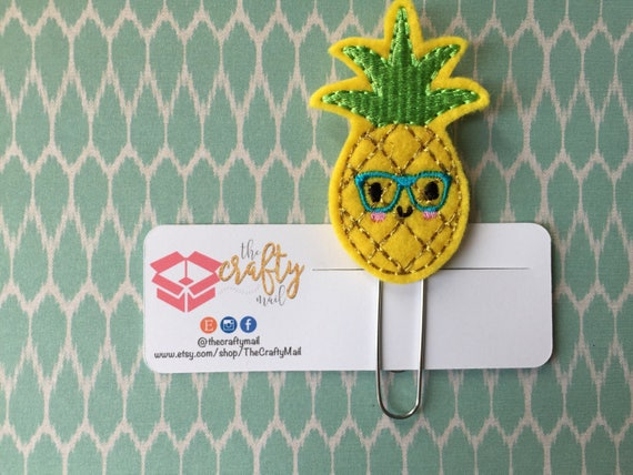 Nerdy Geeky Pineapple Paper Clip/Planner Clip/Bookmark. Pineapple planner clip. Fruit planner clip. Food planner clip