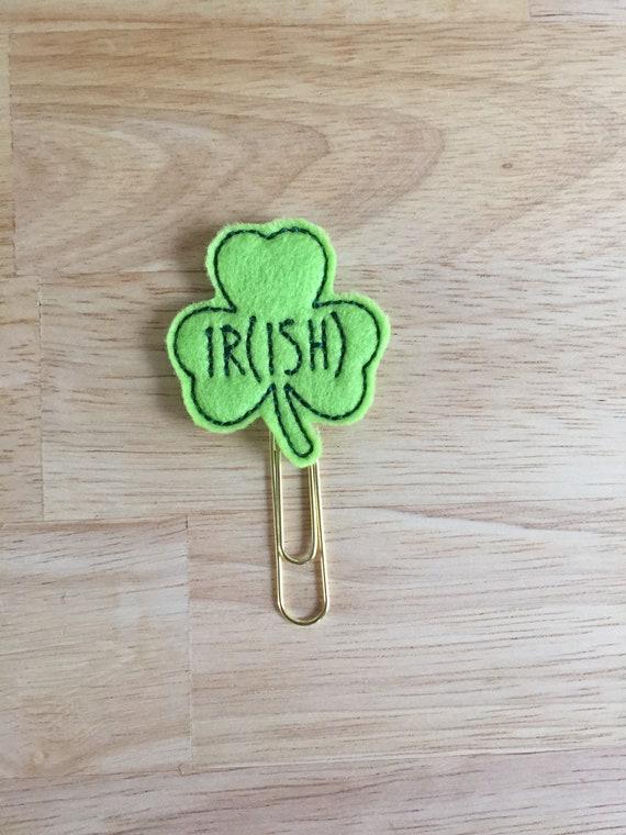 Ir(ish) Clover Clip/Planner Clip/Bookmark. Pinch Planner Clip. St Patrick's Day Planner Clip. Irish Planner Clip. Clover Planner Clip
