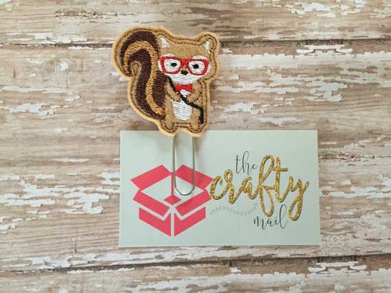 Hipster Squirrel Paper Clip. Squirrel planner clip. Hipster planner clip. Woodland animal planner clip. Animal planner clip