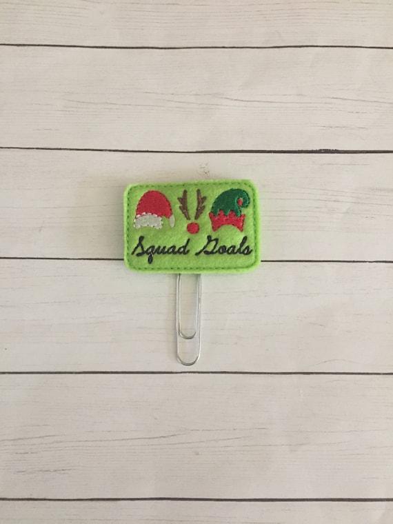 Christmas Squad Goals Clip/Planner Clip/Bookmark. Squad goals planner clip. Santa planner clip. Elf planner clip. Christmas planner clip
