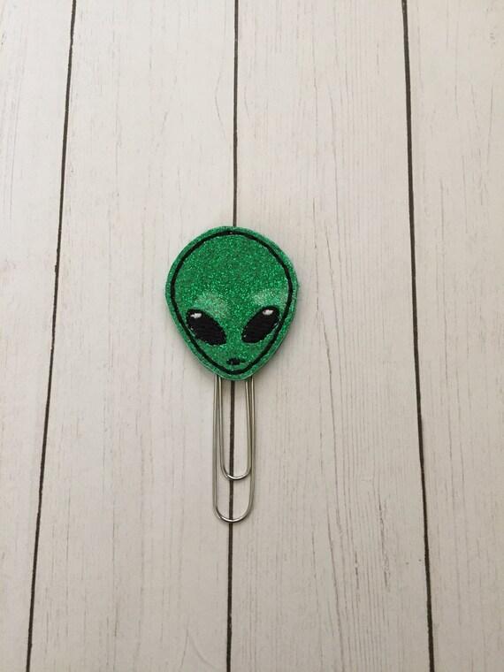 Glitter Alien Planner Clip/Planner Clip/Bookmark. Glitter Planner Clip. Alien Planner Clip. Extraterrestrial planner clip. Space clip