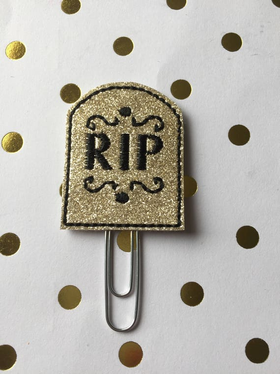 Gold Glitter Tombstone planner Clip/Planner Clip/Bookmark. Halloween Planner Clip. RIP Planner Clip. Fall Planner Clip
