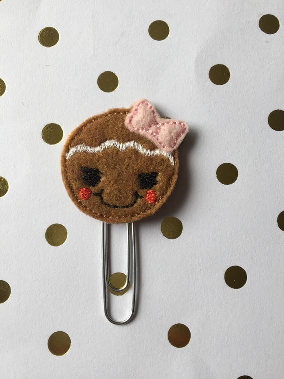 Gingerbread Girl With Bow planner Clip/Planner Clip/Bookmark. Winter Planner Clip. Gingerbread Planner Clip. Holiday planner clip