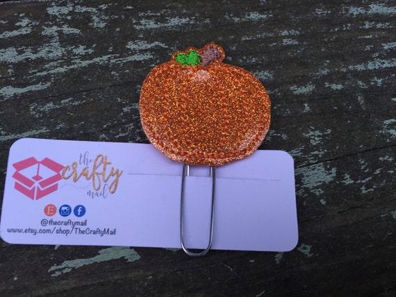 Glitter Pumpkin Planner Clip/Paper Clip/Feltie Clip. Coffee Planner Clip. Halloween Planner Clip. Autumn/Fall Planner Clip