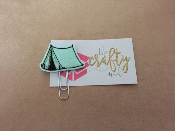 Mint tent Clip/Planner Clip/Bookmark. Camping planner clip