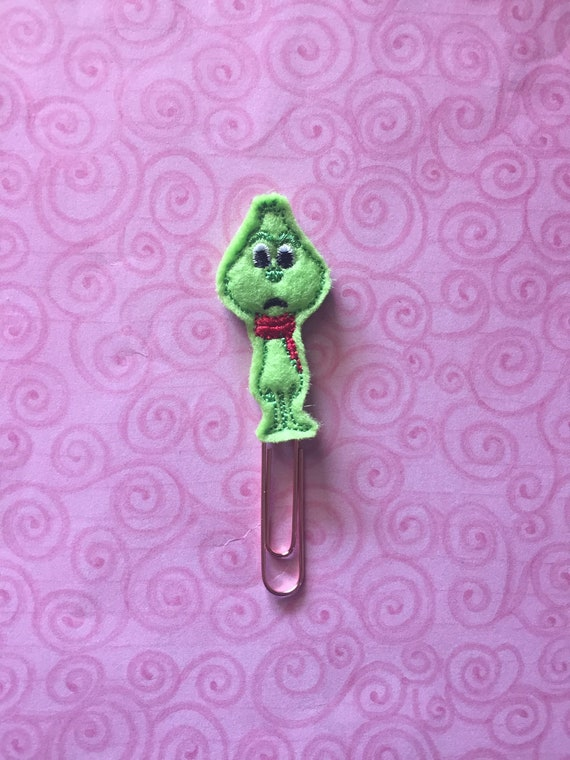 Full Body Mean Green Planner Clip/Paper Clip/Feltie Clip. Christmas planner clips. Holiday planner clip. Christmas planner clip