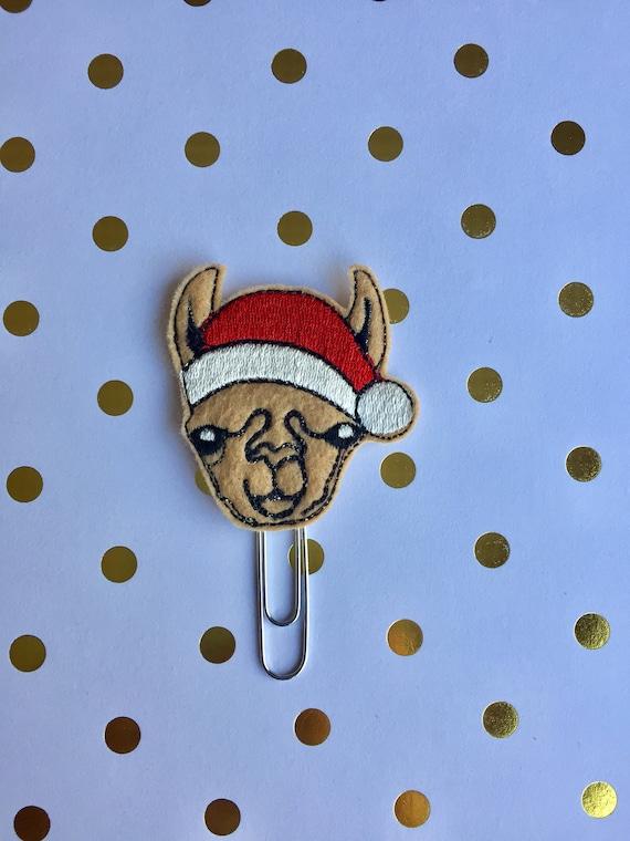 Santa Llama planner Clip/Planner Clip/Bookmark. Santa Planner Clip. Llama Planner Clip. Christmas Planner Clip. Holiday Planner Clip