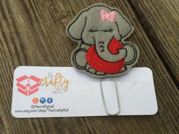 Elephant with heart Clip/Planner Clip/Bookmark. Valentine's planner clips