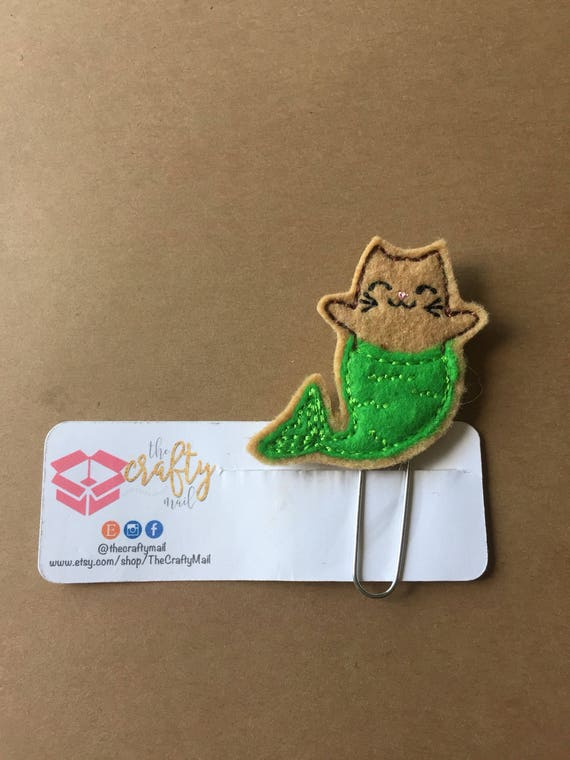 Cat Mermaid Clip/Planner Clip/Bookmark. Cat planner clip. Mermaid planner clip
