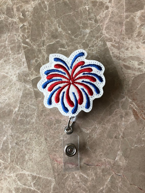 Glitter Fireworks Badge Reel/ Badge Reel/Nurse Badge Reel. 4th Of July Badge Reel. Patriotic Badge Reel