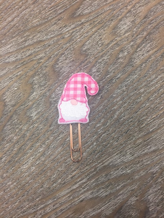 Valentine Gingham Gnome planner Clip/Planner Clip/Bookmark. Valentine Planner Clip. Gnome Planner Clip. Heart Planner Clip