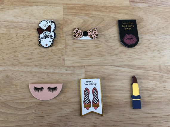 Eyelashes & Lipstick Magnetic Clips. Magnetic Planner Clips. Magnetic Bookmarks.Girl Planner Clip. Choose Your Design
