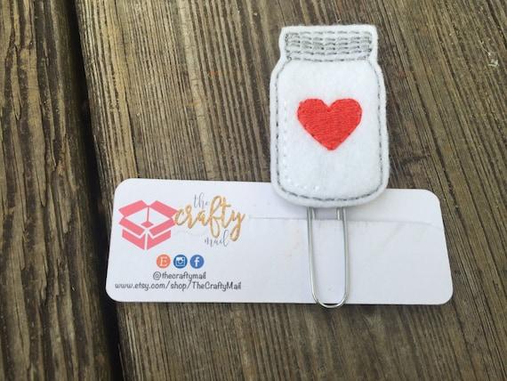 Mason Jar With Heart Clip/Planner Clip/Bookmark. Valentine's planner clips