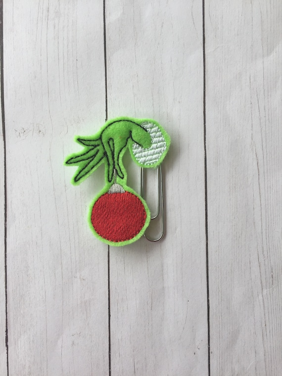 Grinch with ornament Clip/Planner Clip/Bookmark. Mean Green Planner Clip. Ornament Planner Clip. Christmas planner clip
