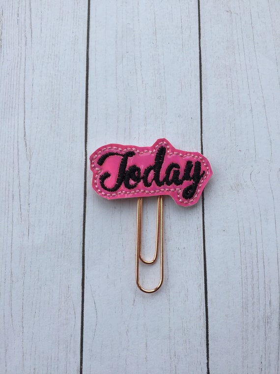 Hot Pink & Black Today Planner Clip/Planner Clip/Bookmark. Today Planner Clip. Word Planner Clip. Heart Planner Clip