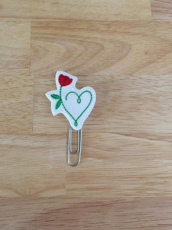 Heart & Rose Clip/Planner Clip/Bookmark. Valentine Planner Clip. Rose Planner Clip. Heart Planner Clip. Love Planner Clip. Glitter Planner