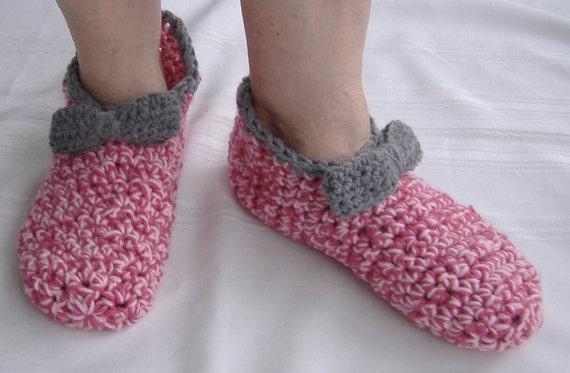 Gehaakte Slippers Met Strik Huis Schoenen Womens Pantoffels Etsy