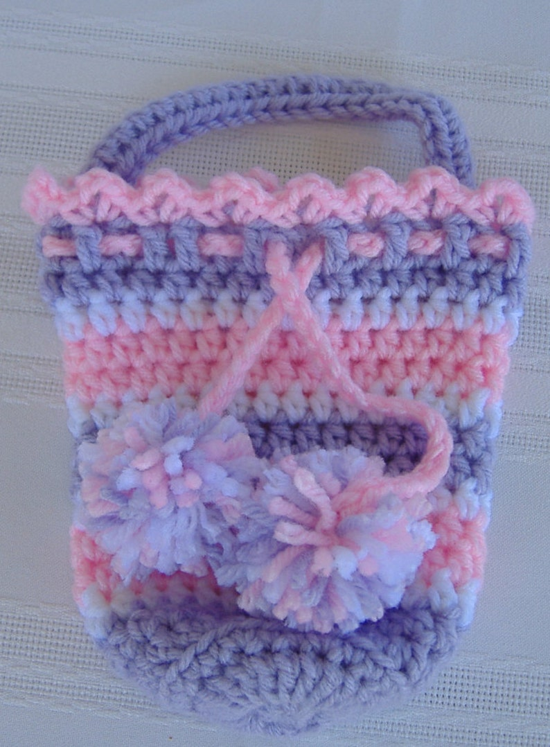 Crochet Draw String Pouchpink And Purple Totegirls Etsy