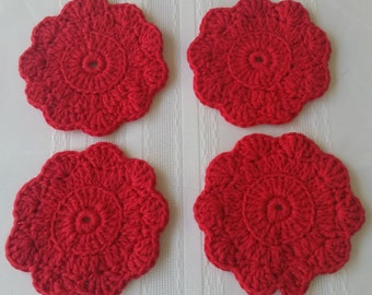 cotton round coasters, 4 red coaster set, cotton coasters, crochet coaster,red cotton coasters, red crochet coasters, red housewares kitchen