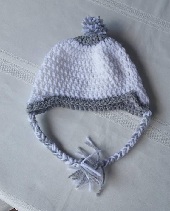 Crochet braid beanie pompom hat flap hatear flap  af811d993bb