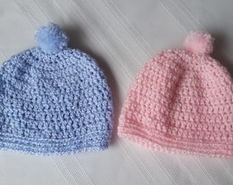 baby pompom hat, crochet blue beanie, crochet baby beanie, crochet girl beanie,girl pompom hat,pink pompom beanie,blue pompom beanie,boy hat
