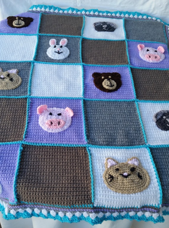 Häkeln Sie Tier Decke Häkeln Babydecke Tier Applikation Etsy