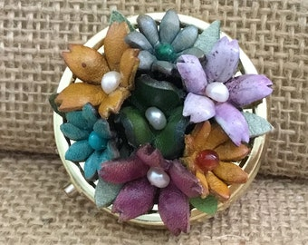Leather Flowers Pill Container - Mother's Day, Grandmother, Birthday