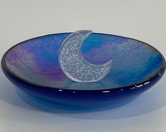 Iridescent blue glass crescent moon ring jewelry dish. Celestial jewelry dish. Unique gift for her. Engagement gift. Christmas Hanukkah gift