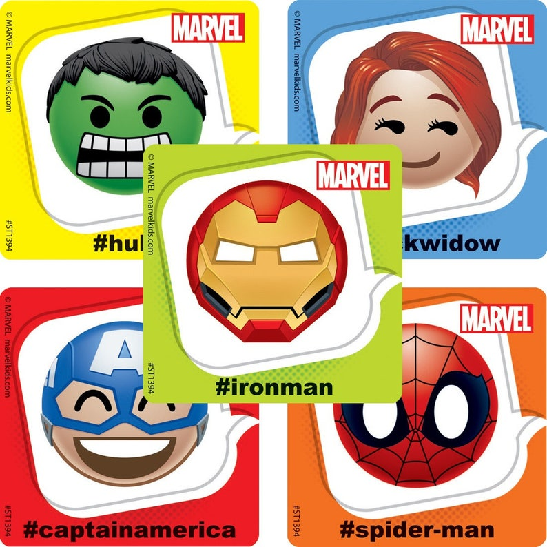 f3feb1bbd42f Marvel Emoji Stickers - Avengers Birthday Party - Avengers Party Favors