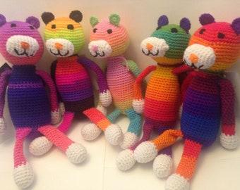 Rainbow Bear Doll, Rainbow Lovey, Bear Stuffed Animal, Pastel Bear, Bear Plushie, Rainbow Amineko, Rainbow Baby Gift, Crochet Teddy Bear