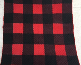 Red baby blanket, red plaid blanket, plaid baby blanket, buffalo plaid, baby shower gift, tummy time, new baby gift, black baby blanket