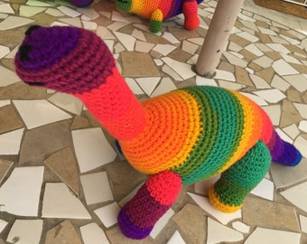 Rainbow Brachiosaurus, Dinosaur Toy, Brontosaurus, Dino Stuffed Animal, Apatosaurus, Dino Amigurumi, Dinosaur Lovey, Stuffed Animal, Toys