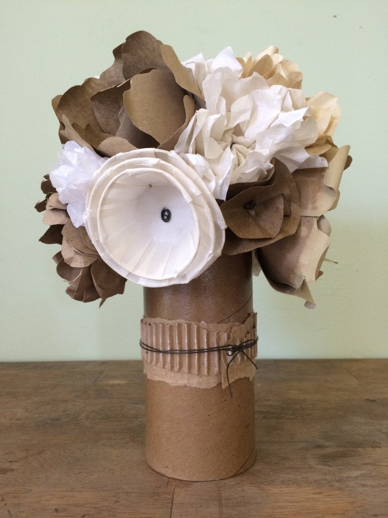 Recycled Paper Flower Bouquet With Cardboard Tube With Wire Etsy