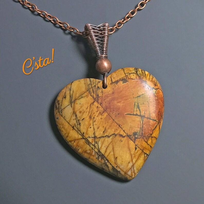 Sale 20/% OFF Red Creek Jasper Heart Necklace