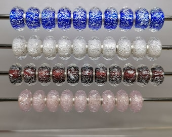 9.25 Silver Section Cut Silver Golden foil Glass Beads Glaze Bead Hole 4.5mm Lampwork Bead Fit European Charm Bracelets DIY Big Hole Bead