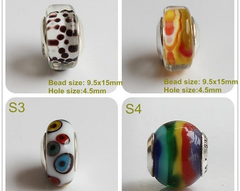 a28bb3259 9.25 Silver Lampwork Dot Rainbow Painting color Glaze Bead Glass Beads Gift Bead  Fit European Charm Bracelets Big Hole Bead