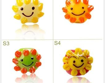 Lamp work 16mm Color Sun Glaze Bead Smile Sunflower Glass Beads Lucky Bead Design Charm Bracelet Handmade Beads DIY bracelets Bead Supply