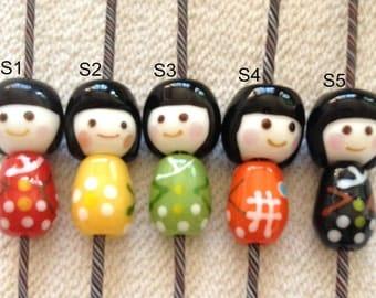 Lamp work 30mm Sweet Japanese Doll Glaze Bead Glass Beads Lucky Bead Charm Chain Handmade Beads DIY bracelets Bead Supply