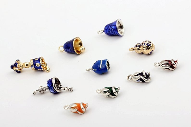 Blue and gold cloisonn\u00e9 bead earrings with gold-filled findings