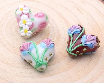 Lamp work Love Heart Flower Beads Art Bead Glass Beads Lucky Bead Design Charm Bracelet Handmade Beads DIY bracelets Bead Supply