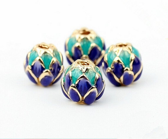 10 Gold Plated Copper Enamel Multicolored Cloisonné 8mm Round Beads