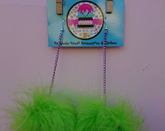 Lime Green Candy marabou puff earrings