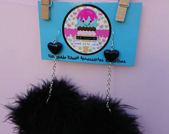 Black marabou puff earrings