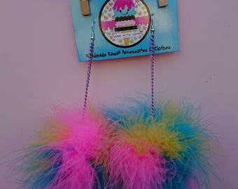 Rainbow Candy marabou puff earrings