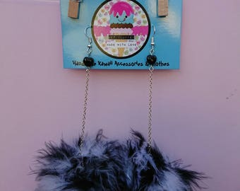 B&W marabou puff earrings