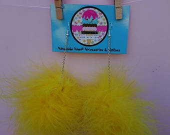 Yellow Candy marabou puff earrings