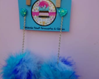 Blue marabou puff earrings